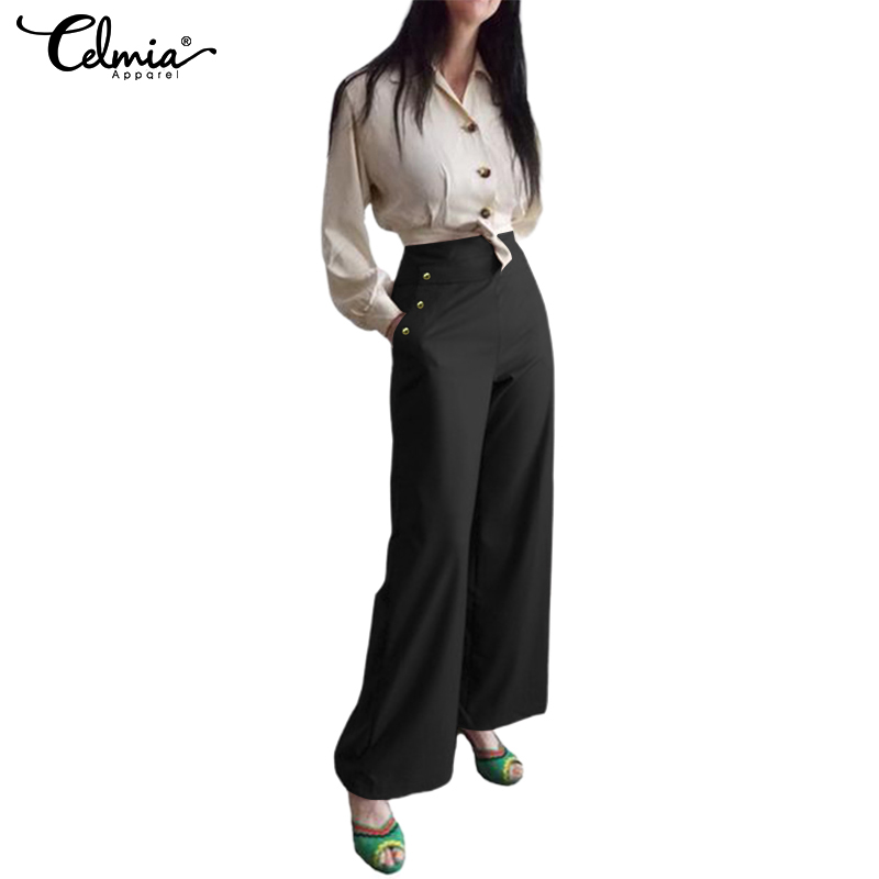 Celmia Plus Size   Pants   Women Office Long Trousers 2019 Casual High Waist Straight   Wide     Leg     Pants   Ladies Pantalon Palazzo Femme