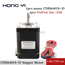 Free shipping NEMA 17 Stepper Motor 42 Hybrid 2 Phase motor 17hs6401s 60mm 7.3kg.cm 1.8A Step Motor for cnc