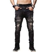 Fashion Hi-Street Mens Black Ripped Biker Jeans Pants Slim Fit Distressed Motocycle Denim Joggers Man Streetwear Jean Trousers