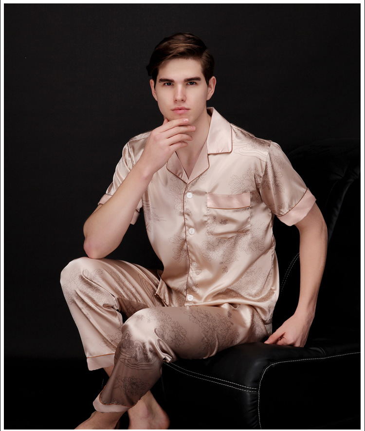 High Quality Silk Men Pajamas Sleepwear short sleeve Silk Satin Nightwear Soft Spring summer Autumn Pyjamas