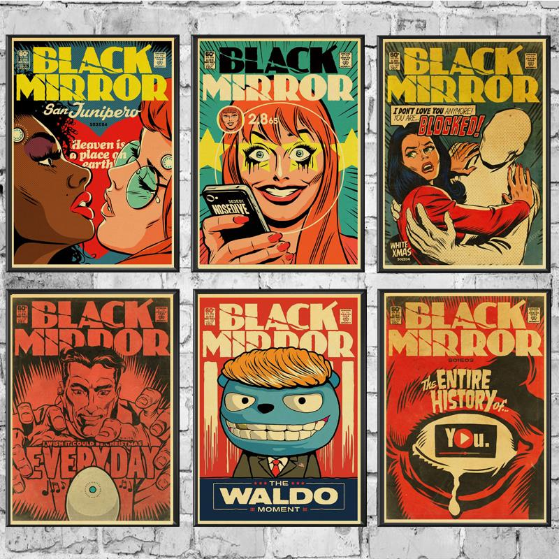Vintage Classic Movie  Black Mirror Poster Good Quality Painting Retro Poster Kraft Paper For Home Bar Wall Decor/Stickers
