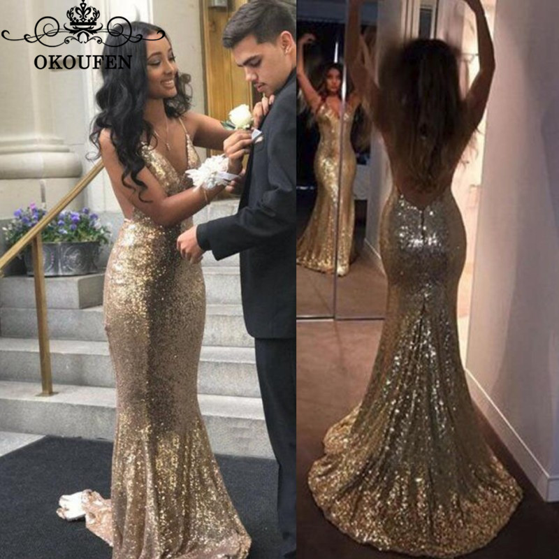 Bling Sequined Mermaid   Prom     Dresses   Graduation For Women Spaghetti Strap Backless Long Evening   Dress   Party Gown
