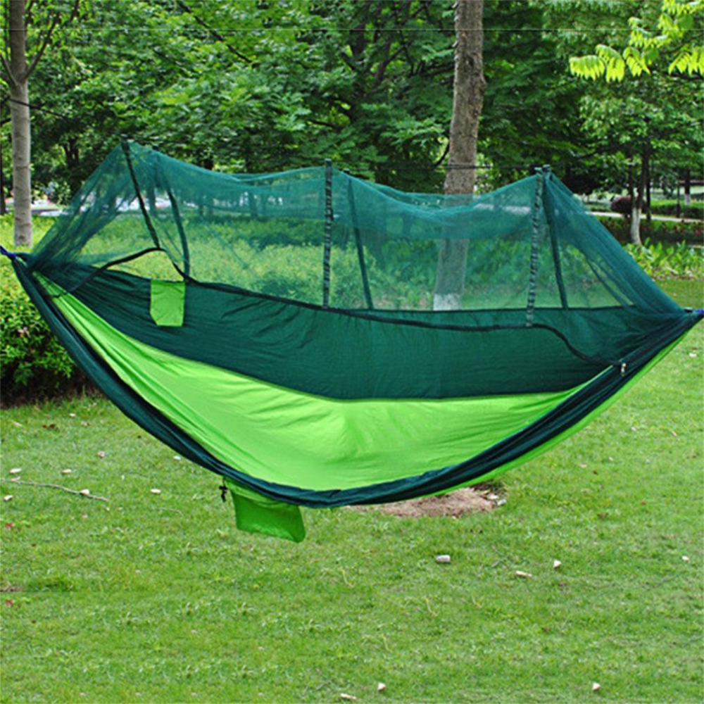 AOTU two Person Travel Outdoor Hanging Hammock Bed With Mosquito Net Camping Tent Ultralight Portable Parachute Cloth Hammock facecozy outdoor parachute with mosquito net hammock tent portable nylon hiking camping garden travel hunting hanging swing bed