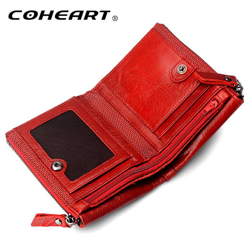 Cartera de cuero genuino para mujer, monedero de calidad superior, bolso de dinero con cremallera multifuncional, nuevo diseño