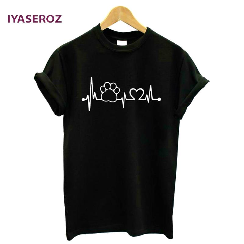 IYASEROZ 2017 Paw Heartbeat Lifeline <font><b>dog</b></font> cat Women <font><b>tshirt</b></font> Halajuku Casual Funny t shirt For <font><b>Unisex</b></font> Lady Girl Top Tees Hipster image