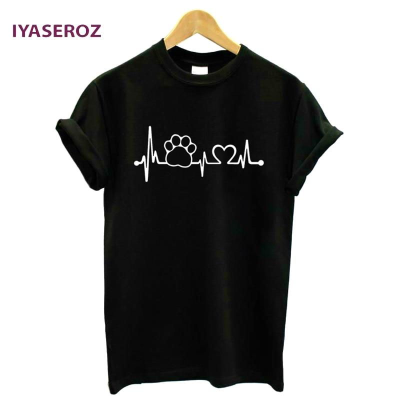 Iyaseroz 2017 Paw Heartbeat lifeline кота собаки Для женщин футболка halajuku Повседневное забавная футболка унисекс для леди топ для девочек Футболки для девочек Hipster