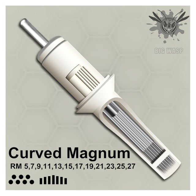 Original BIGWASP Standard Curved Round Magnum Tattoo Needle Cartridge 5/7/9/11/13/15/17/19/21/23/25/27RM