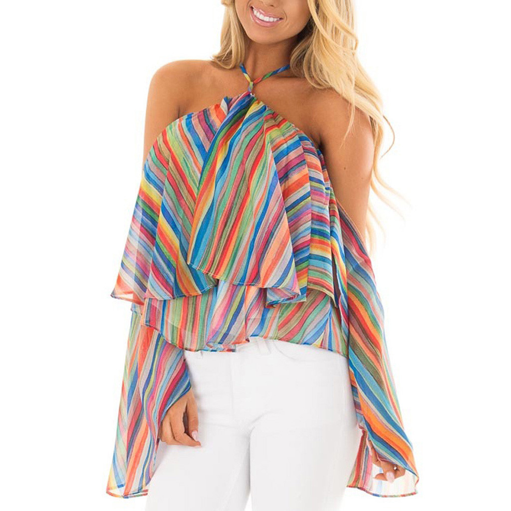 Summer Beach Sexy Off Shoulder Top Blouse Women Casual Rainbow Striped Print Shirt Cold Shoulder Blouse Ruffle Fold Women Tops