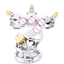 Adjustable Stainless Steel Penis Ring Cock Ring Chastity Cage Penis Sleeve for Men Metal Chastity Device Cage DIY Decorations(China)