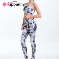 Aipbunny النساء 2 قطعة الصدرية يغطي مجموعات اليوغا لياقة رياضة رياضية رياضة دعوى 3d المطبوعة بالحبر jeggings أنثى