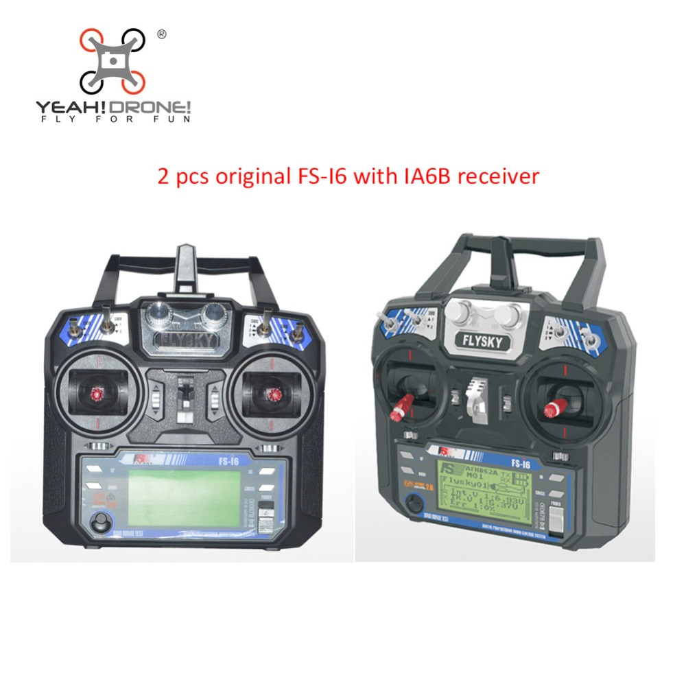 2 pcs Flysky FS-i6 FS i6 RC Transmitter with IA6B Receiver Remote Controller 2.4GHz 6CH for Quadcopter Helicopter Glider flysky 2 4g 6ch channel fs t6 transmitter receiver radio system remote controller mode1 2 lcd w rx rc helicopter multirotor