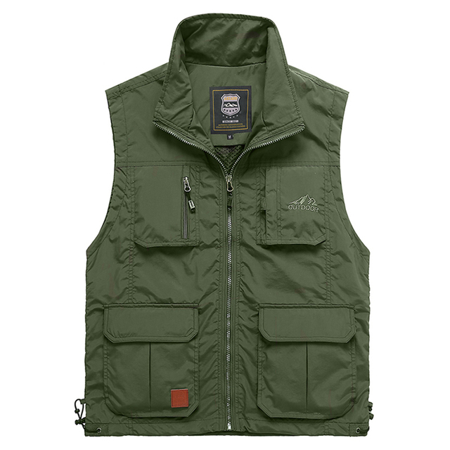 4XL  Summer Men Vest With Many Pockets Casual Photographer Work Outerwear Sleeveless Jacket Male Waistcoat 2019