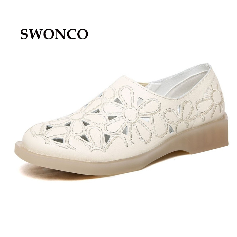 SWONCO Women's Flats Shoes Genuine Leather Fashion Hollow Out Ladies Shoe Oxfords Casual Shoes Women Heel Non-slip Woman Shoe swonco women s flats ladies shoe genuine leather 2018 spring autumn female shoe ladies shoes leather lace up casual women flats