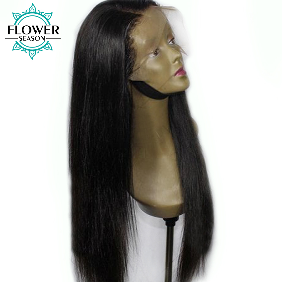 FlowerSeason 13*6 Deep Parting Lace Front Wigs Human Hair Indian Remy Hair Preplucked Lace Wig 180% Density Silky Straight