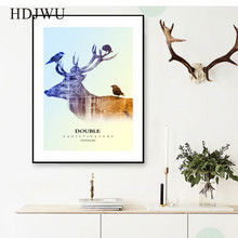 Nordic Art Home Canvas Decoration Elk Painting Posters  Aminal Wall Pictures for Living Room Hotel DJ245