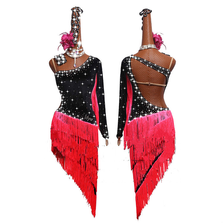 Rhinestones Latin Dance Dress Women 2019 New Adult Costume Latin Dance Competition Dresses Clothes For Salsa Dance Clothing