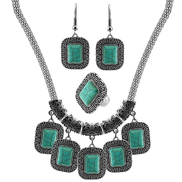 SL007 Square Turquoise Stone Jewelry Set Necklace Earring font b Ring b font Antique Silver Pendant