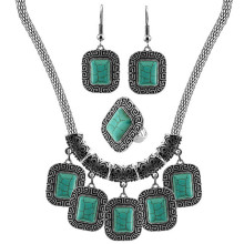 SL007 Square Turquoise Stone Jewelry Set Necklace Earring Ring Antique Silver Pendant Jewelry Necklace Tibetan Alloy