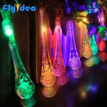 Luzes de natal ao ar livre led água dorp bola corda ano novo garland festa de casamento feriado luzes decorativas 5m 20 led solar