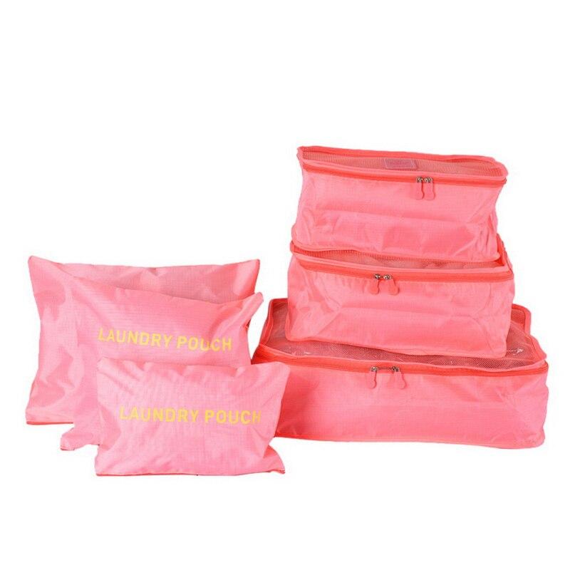 1Set 6PCs Waterproof Nylon Rangement Storage Bags Portable Travel Bags Packing Clothes Makeup Organizer Laundry Storage Box Net
