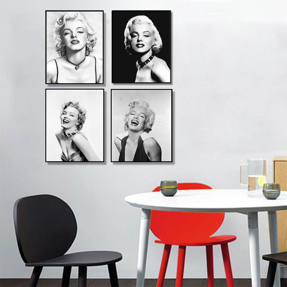 Unframed 4 HD Canvas Portraits, Marilyn Monroe Art paintings Decorative Paintings Living Room Mural Free Shipping