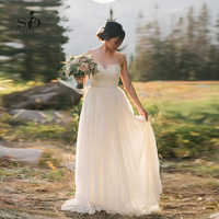 Neue Ankunft Schatz Hochzeit Kleid Spitze A-Line Vestido De Novia Playa Einfache Brautkleid