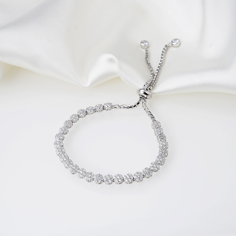 Designer Fashion 925 Sterling Silver Jewelry 3A Cubic Zirconia Party Adjustable Bracelet