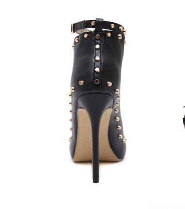 New Europe Popular Street beat rivet shoes fish mouth High-heeled Catwalk sexy Rome Ankle Buckle Strap PU heel 12cm Woman pumps 12
