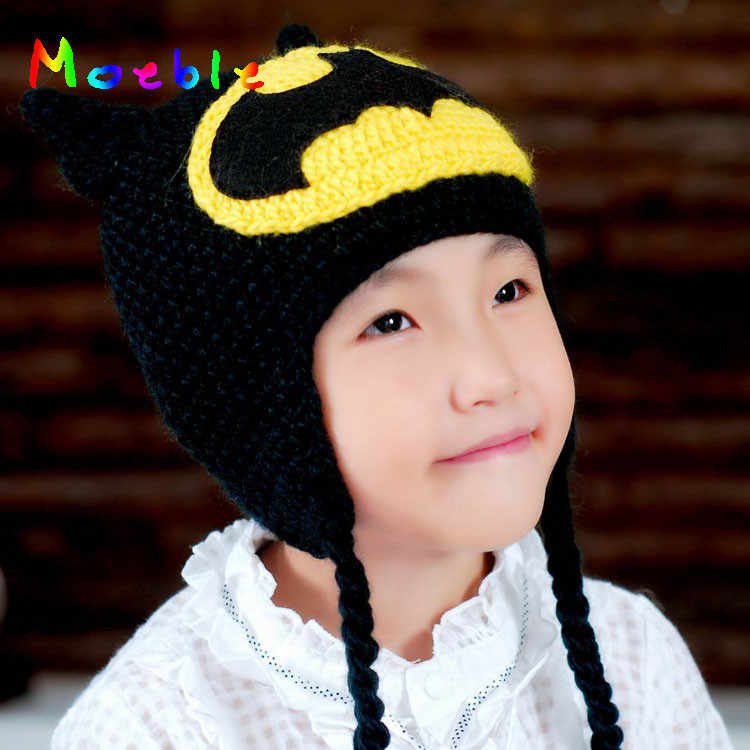 2019 Batman Design Baby Crochet Hat Knitted Winter Beanie Toddler BABY Winter Hat Beanie Baby Accessory 1pc MZS-14071