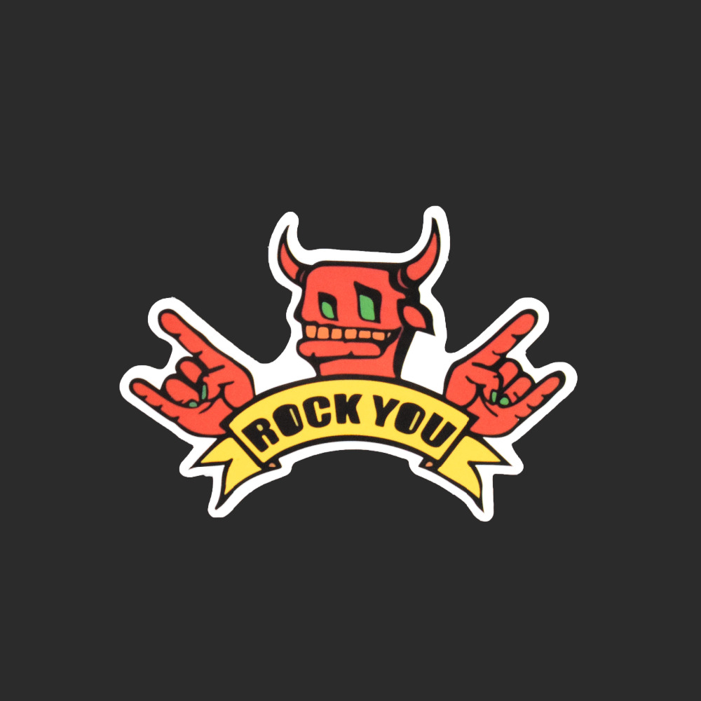 Rock You  Single Sticker Car Styling Waterproof Fashion Tied Brand Stickers Luggage Skateboard Funny Red Animal Decals