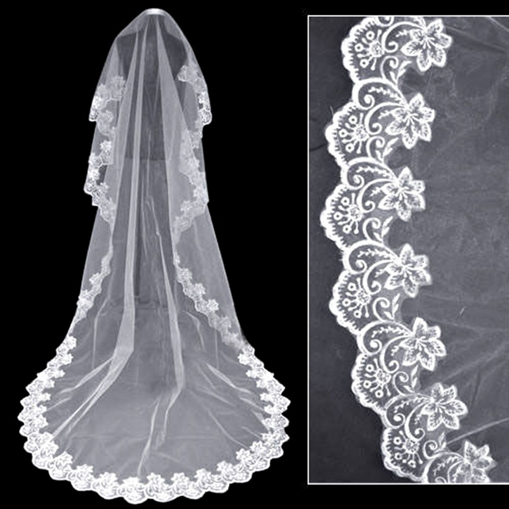 1T Women One-Tier Lace Applique Scalloped Edge Waterfall Bridal Veil 2020