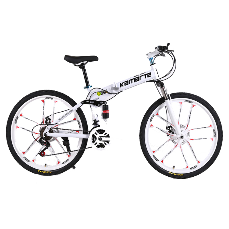 24 And 26inch Folding Mountain Bike 10 Knife Wheel Folding Mountain Bicycle 21 Speed Two-disc Brake Bicycle