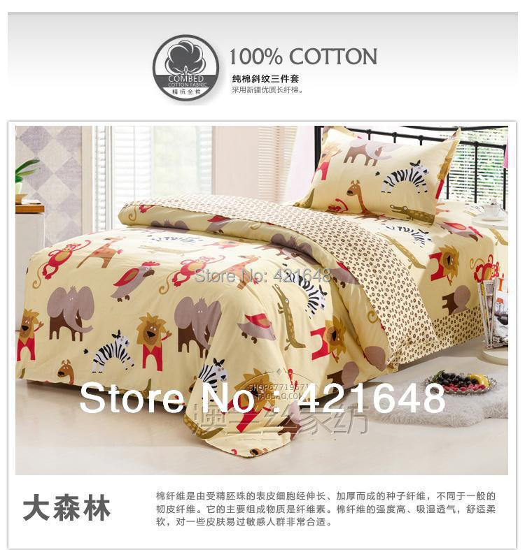 free shipping 100 cotton children bunk bed set one piece anime cartoon animals 3pcs bedding set. Black Bedroom Furniture Sets. Home Design Ideas