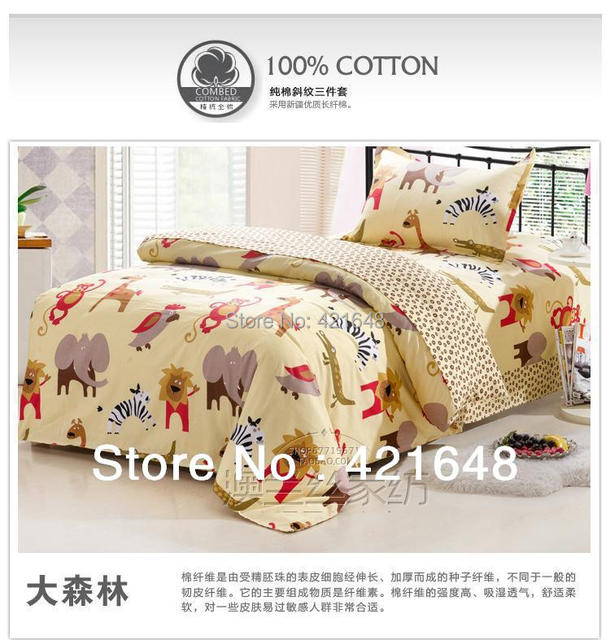 Free Shipping 100%cotton Children Bunk Bed Set One Piece Anime Cartoon  Animals 3pcs Bedding
