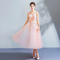Vintage A line Evening Dress Elegant Pink Sleeveless Embroidery Ankle length Lace Flowers Evening Gowns 2018 Hot