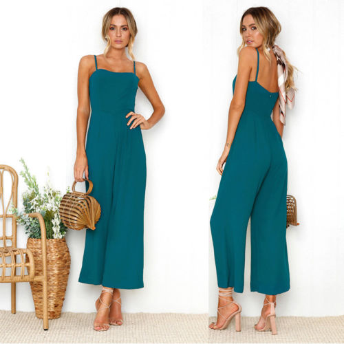 Womens loose Sleeveless Jumpsuits Camis Rompers Summer ZIP Backless Lady Girl Clothing Casual Rompers S M L XL