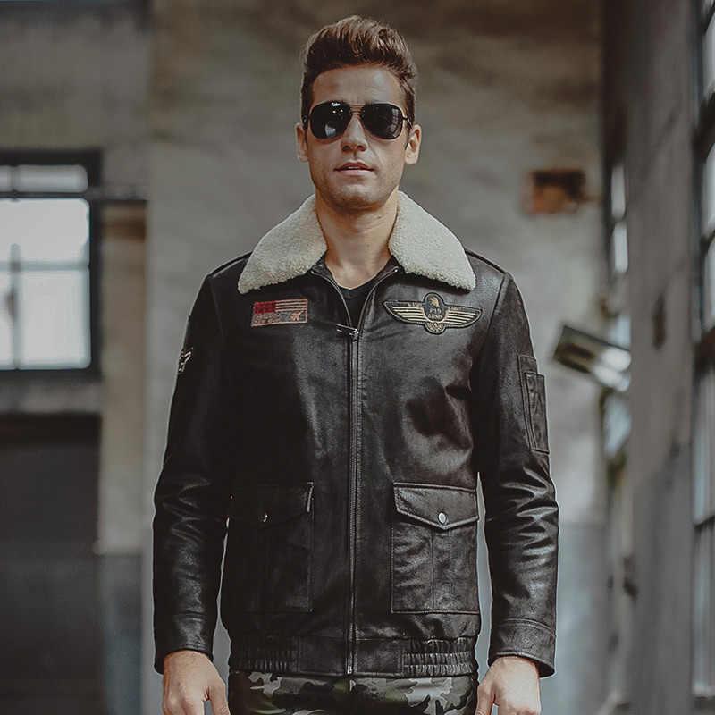 男性の本物の革のジャケット空軍飛行ジャケットピッグスキン本革レザーアビエイタージャケットオートバイコート男性バイカージャケット