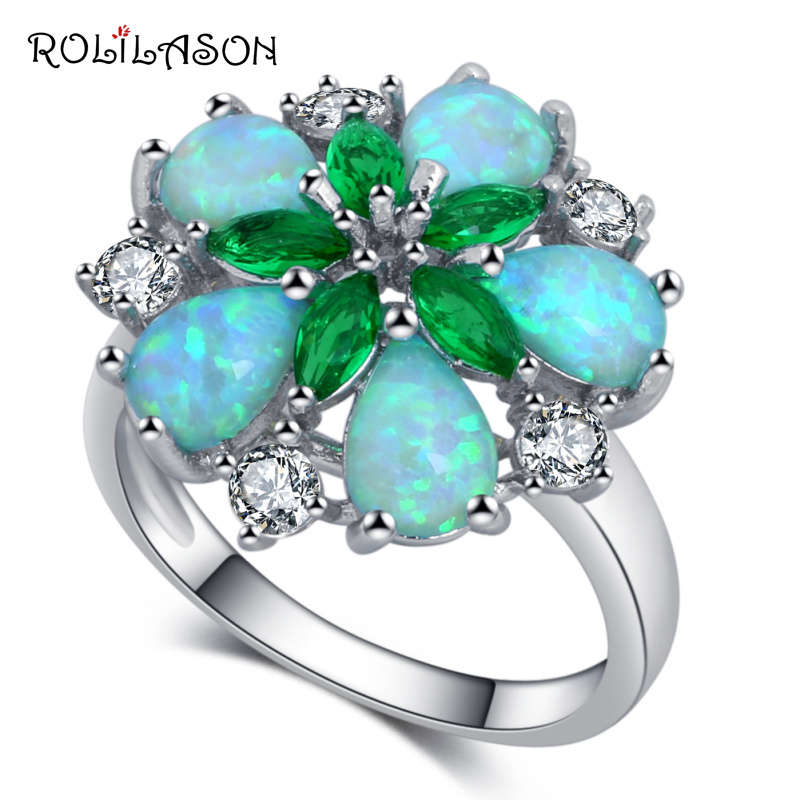 ROLILASON Simple and generous green opal flower design Gifts Silver Stamped Fashion Jewelry Ring
