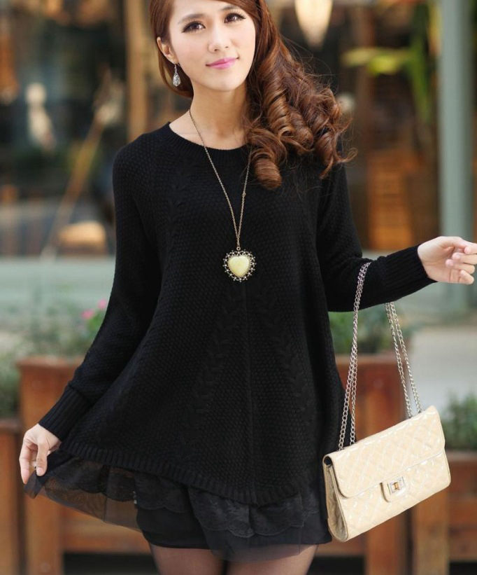 9fede9ad57d9 Lace Women Sweater Dress Oversized Long Sleeve Pink Knitted Sweater New  Casual Pullovers Ladies Clothing Tops Winter Knitwear-in Pullovers from  Women's ...