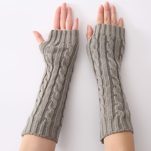 New Jacquard 8-figure Twist Knitted Wool Fashion Warm Finger Half-finger Gloves In Autumn And Winter Accessory 1pair Drop Ship