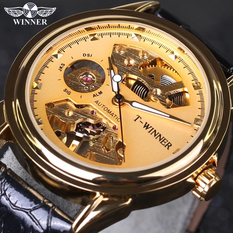 Winner 2018 New Designer Transparent Golden Casual Skeleton Stainless Steel Mens Watches Top Brand Luxury Mechanical Watch