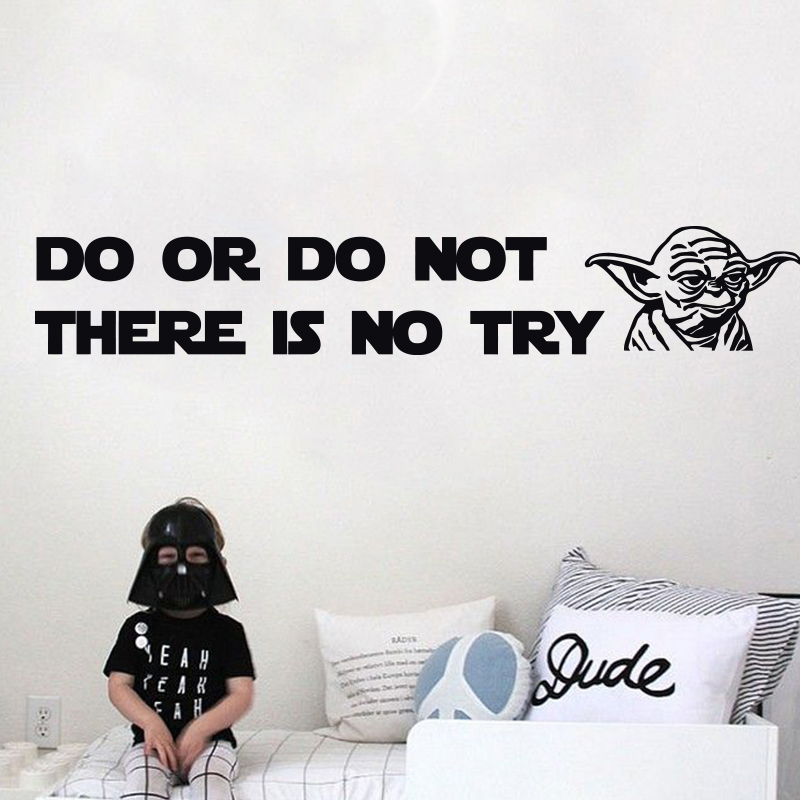 Art New Design NEBO NEDĚLEJTE, že neexistuje žádný pokus Yoda Quote Vinyl Decal WALL STICKER Home Decor Art Star Wars DIY domácí dekorace