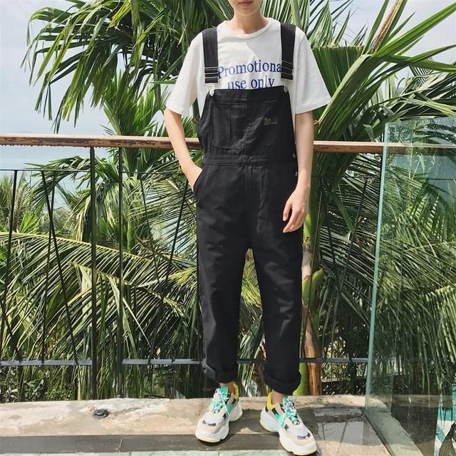 Men's Clothing Overalls Men Loose Overalls Pants Mens Hip Hop Dancing Jumpsuit Male Work Wear Baggy Rompers Streetwear Suspender Pants D91301 Relieving Rheumatism