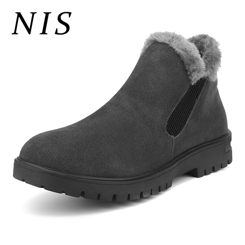 NIS Fur-lined Snow Boots Men Shoes Faux Suede Chelsea Winter Shoes Men Boots Elastic Slip On Casual Motorcycle Ankle Booties New faux fur lined flat ankle boots