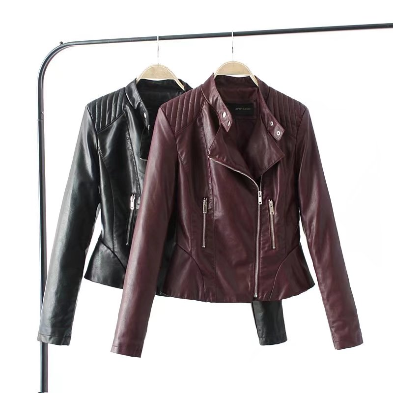 2018 Fashion Women Elegant Zipper Faux Leather Biker Jacket Wine Red Black Slim Ladies Coat Casual