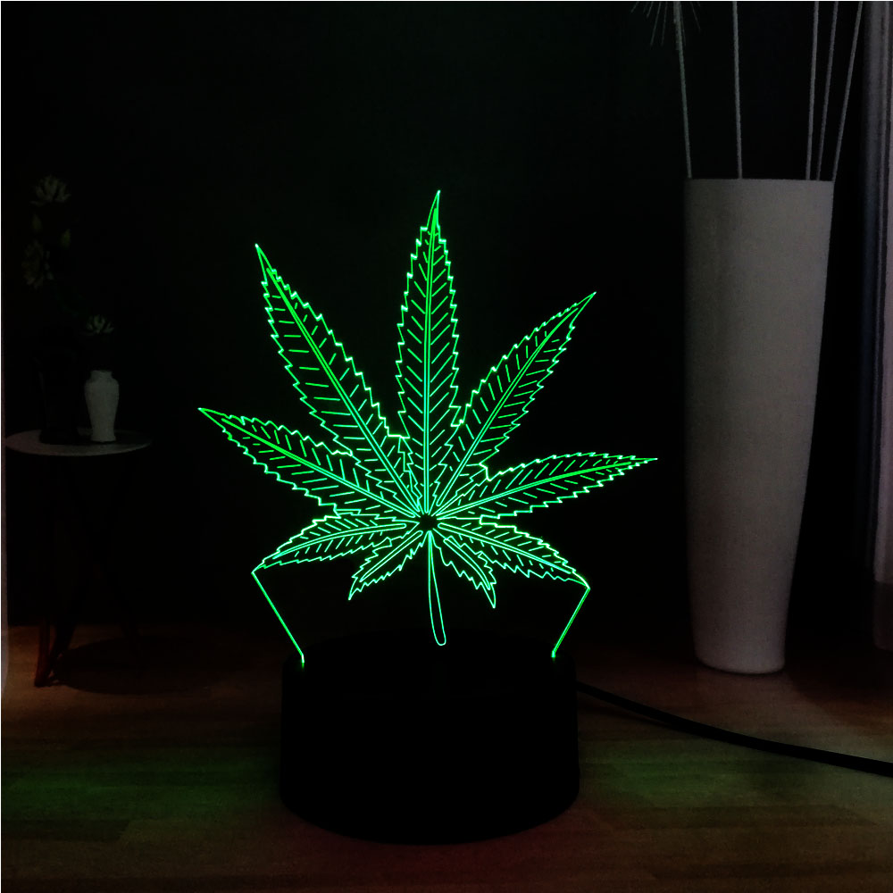 Novel Acrylic Plant Weed Hemp Leaf 3D Illusion LED Decor Bedroom RGB USB Base Table Night Sweet Mood Light Holiday Friends Gift
