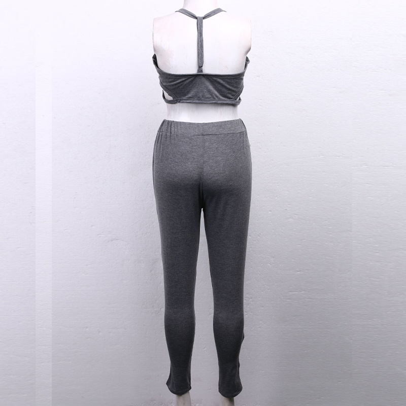 HTB1Eh53cBRRMKJjSZPhq6AZoVXay - Women's Training Outfit - Stylish Solid Gray Fitness Top w/ Pants for Sport Activities