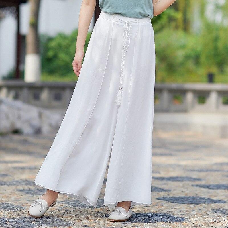 Chinese Wind Original Vintage Chiffon   Wide     Leg     Pants   Wild Casual   Pants     Pants   Solid   Wide     Leg     Pants   Female Tassel Belt
