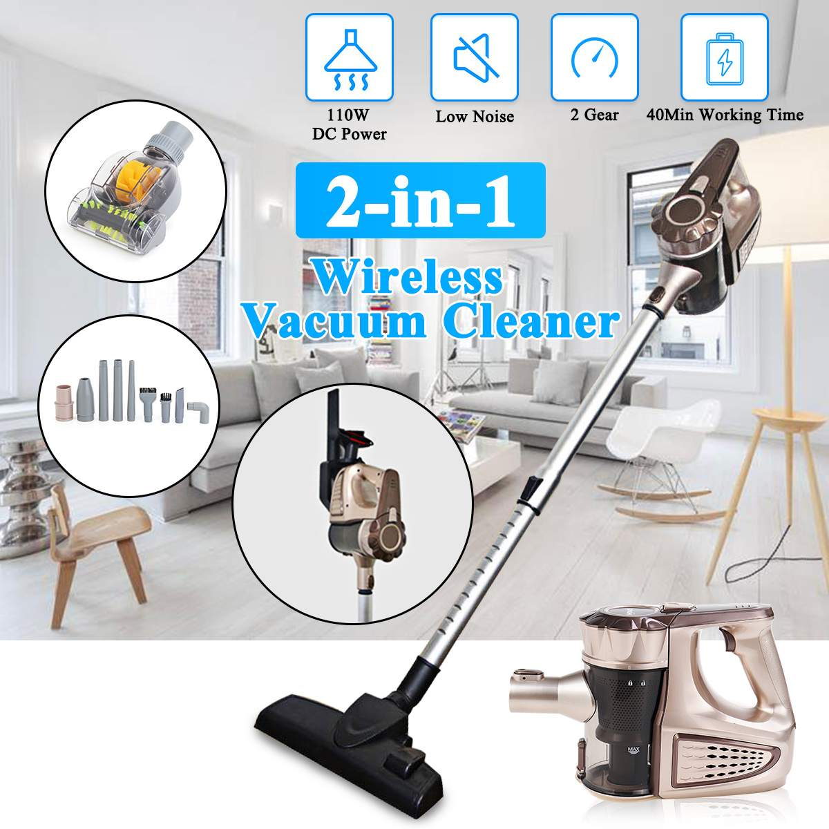 Portable 2 In 1 Handheld Cordless Vacuum Cleaner Portable Wireless Cyclone Filter Carpet Sweep Dust Collector With removing mite