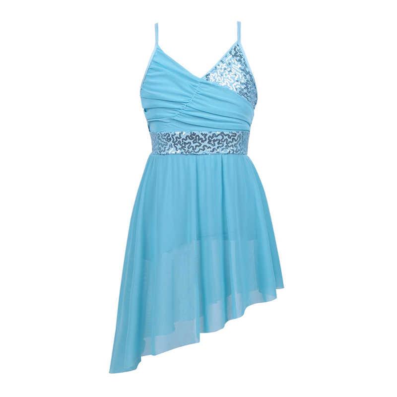 Балетное платье-пачка с v-образным вырезом и блестками для девочек-подростков, лирические современные костюмы для латинских танцев, вечерние костюмы для балерины, трико для танцев